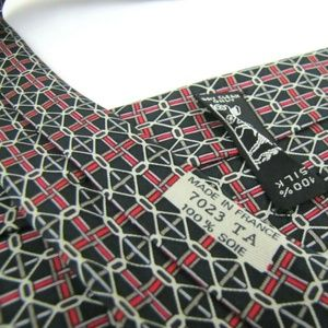 HERMES PARIS Tie 7023 TA Navy Blue Chain Link